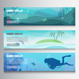 Underwater horizontal banners stock illustration