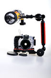 Underwater housing with flash Stock Image