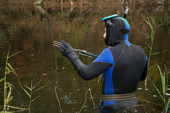 Underwater hunter stock photography