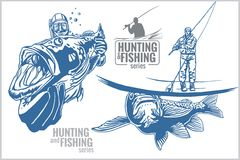 Underwater hunter and fisherman - vintage. Two color illustration Stock Photos