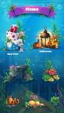 Underwater item set - snowman, cake, gifts, lamp, lantern, rock, stones, algae, amphora, bubbles. Bright image to create original. Underwater item set snowman royalty free illustration