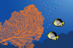 Underwater landscape. With Giant Gorgonian Sea-fan and Butterflyfishes royalty free illustration