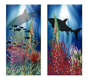 Underwater landscape banners set. Vector illustration Royalty Free Stock Image