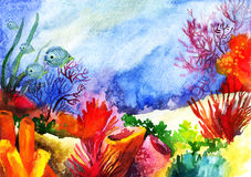 Underwater landscape with coral reef watercolor painted. Underwater landscape with coral reef. Hand painted watercolor illustration Stock Photography