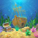 Underwater landscape. The ocean and the undersea world with different inhabitants, corals and pirate chest Royalty Free Stock Images