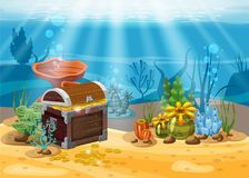 Underwater landscape. The ocean and the undersea world with different inhabitants, corals and pirate chest . Web and. Mobiles game design or screen savers Stock Photography