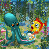 Underwater landscape, octopus with goldfish Royalty Free Stock Images