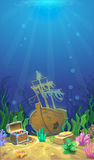 Underwater landscape. Pirate chest with treasures Stock Photos