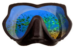 Underwater landscape is reflected in mask glasses for a snorkeling (diving) Stock Photography
