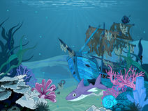 Underwater landscape. Underwater scene with old pirate ship Royalty Free Stock Images