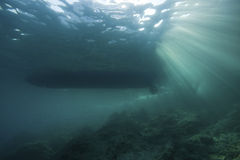 Underwater landscape with sun rays Stock Photo