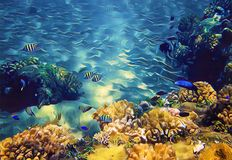 Underwater landscape with tropical fish. Seashore view retro digital illustration. Tropical seaside nature. Coral reef in blue sea water. Snorkeling in Royalty Free Stock Photography