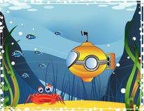 Underwater landscape. Yellow Submarine explores the mysterious underwater world Stock Photo