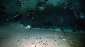 Underwater landscape in Yucatan Mexican cenote. Underwater stalactites and stalagmites in landscape Mexican Sacred Mayan Cenote. Deep underground clean and stock video