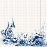 Underwater life. Doodle sea-bottom, underwater life Vector Illustration