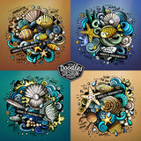 Underwater life cartoon vector doodle illustrations Stock Image