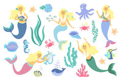 Underwater life collection. Mermaid, sea animals and seaweed on a white background Royalty Free Stock Photo