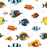 Underwater life with cute cartoon fishes vector seamless pattern. Fish tropical in aquarium, fish swimming in water illustration Royalty Free Stock Images