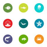 Underwater life icons set, flat style. Underwater life icons set. Flat set of 9 underwater life vector icons for web isolated on white background Royalty Free Stock Photo
