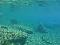 Underwater life in Kolona double bay Kythnos island Cyclades Greece, Aegean sea. Snorkeling as a hobby royalty free stock photos
