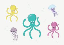 Underwater life with octopus and jellyfish vector illustration