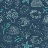 Underwater life pattern. Underwater seamless pattern on dark blue background Stock Photo