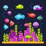 Underwater life with sea animals in flat style. Water ocean animal fish and underwater illustration vector fish Royalty Free Stock Photography
