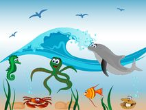Underwater life. Sea animals and the wave Stock Images