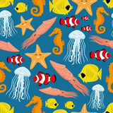 Underwater life seamless background. Stock Photography