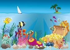 Underwater life and treasure Stock Photo