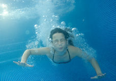 Underwater Little Girl Royalty Free Stock Images