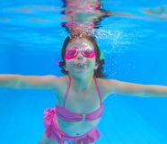 Underwater little girl pink bikini blue pool Stock Photos