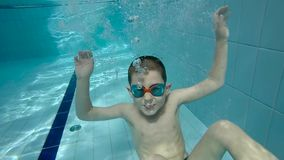 Underwater little kid. In swimming pool with goggles stock footage