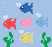 Underwater love. A funny group of fishes: four males looking to a female stock illustration