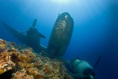 Underwater in Maldives, aircraft wreck from World War II Royalty Free Stock Photography