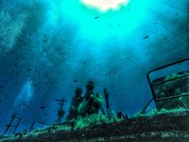 Underwater malta wreck by german navy. Wreck in malta made by the german navy given to the Island of Malta that has been sunk for recreational scuba diving Royalty Free Stock Image