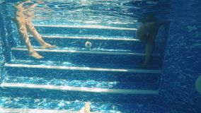 Human legs under water. Underwater. Man moves his feet in front of camera. Female legs are moving on the background. One of the women stands on the stairs waist stock video