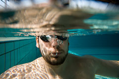 Underwater man portrait Stock Image