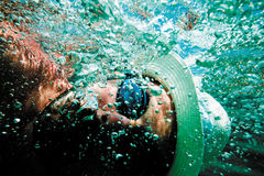 Underwater man's face bubbles sea Stock Photo