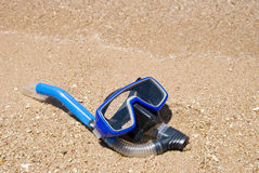 Underwater mask. Lying on the beach Royalty Free Stock Photo