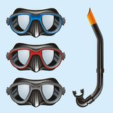 Underwater Masks. Vector illustration of Underwater Masks  for Diving and Snorkeling Stock Image