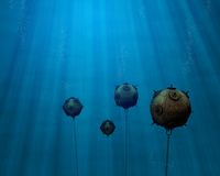 Underwater mine field. Illustration of an underwater mine field scene. Several floting sea mines in the depth of the sea Stock Image