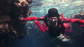 Underwater model free diver in red dress on background of corals in Red Sea. stock video