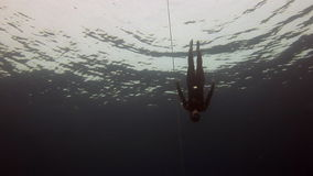 Underwater model free diver swims with red buoy in clean blue water in Red Sea. stock footage