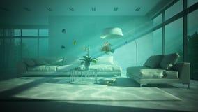 Underwater modern interior 3D rendering Stock Image