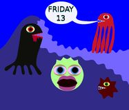 Underwater monster say friday 13. Underwater monster in 80s style say friday 13 Stock Photography