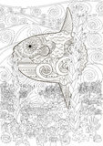 Underwater moon fish in zentangle. Style. Adult antistress coloring book. Black white hand drawn doodle oceanic animal for art therapy. Full marine background Stock Photos