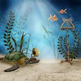 Underwater music instruments. Fantasy underwater scenery with music instruments and sea turtle Stock Image