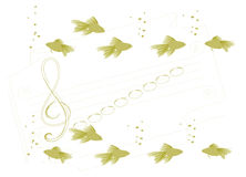 Underwater musical school. An illustration. A treble clef and notes vector illustration