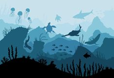 Free Underwater Ocean Fauna. Deep Sea Plants, Fishes And Animals. Marine Seaweed, Fish Under Water And Animal Silhouette With Royalty Free Stock Photo - 148842555